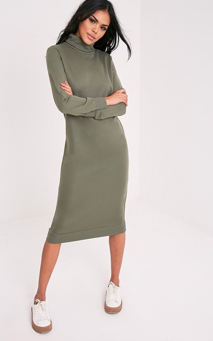 Nelia Olive High Neck Midi Jumper Dress