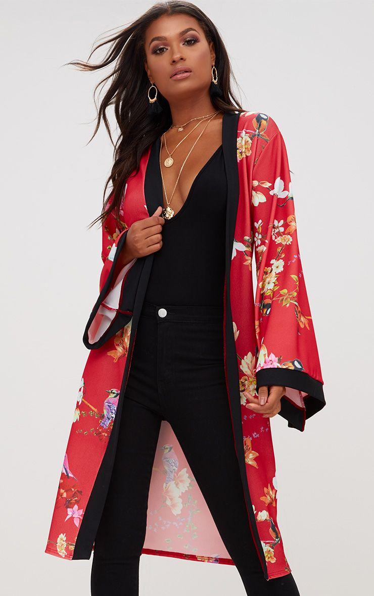 Red Oriental Belted Kimono Jacket