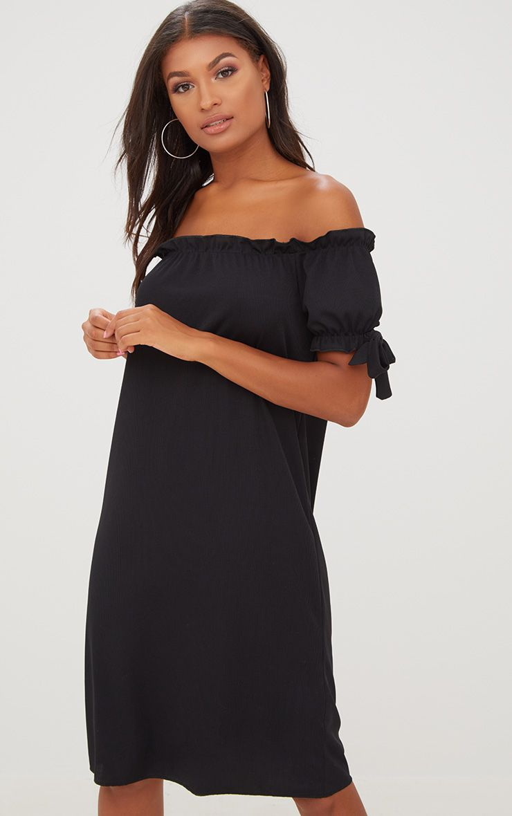 Black Ribbed Bardot Midi Dress