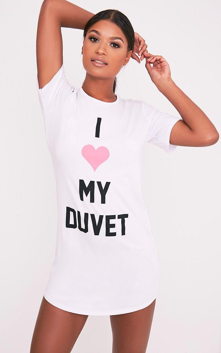 I Love My Duvet White Oversized Nightshirt 1