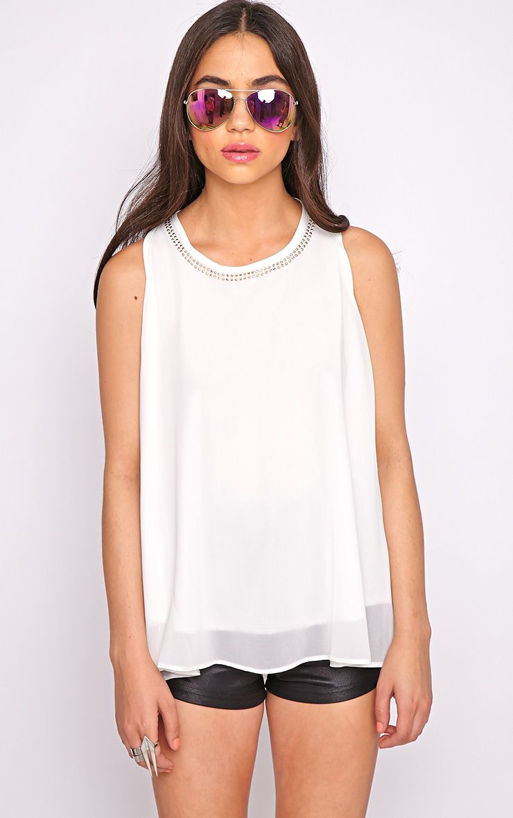 Lizzy White Studded Swing Vest  1