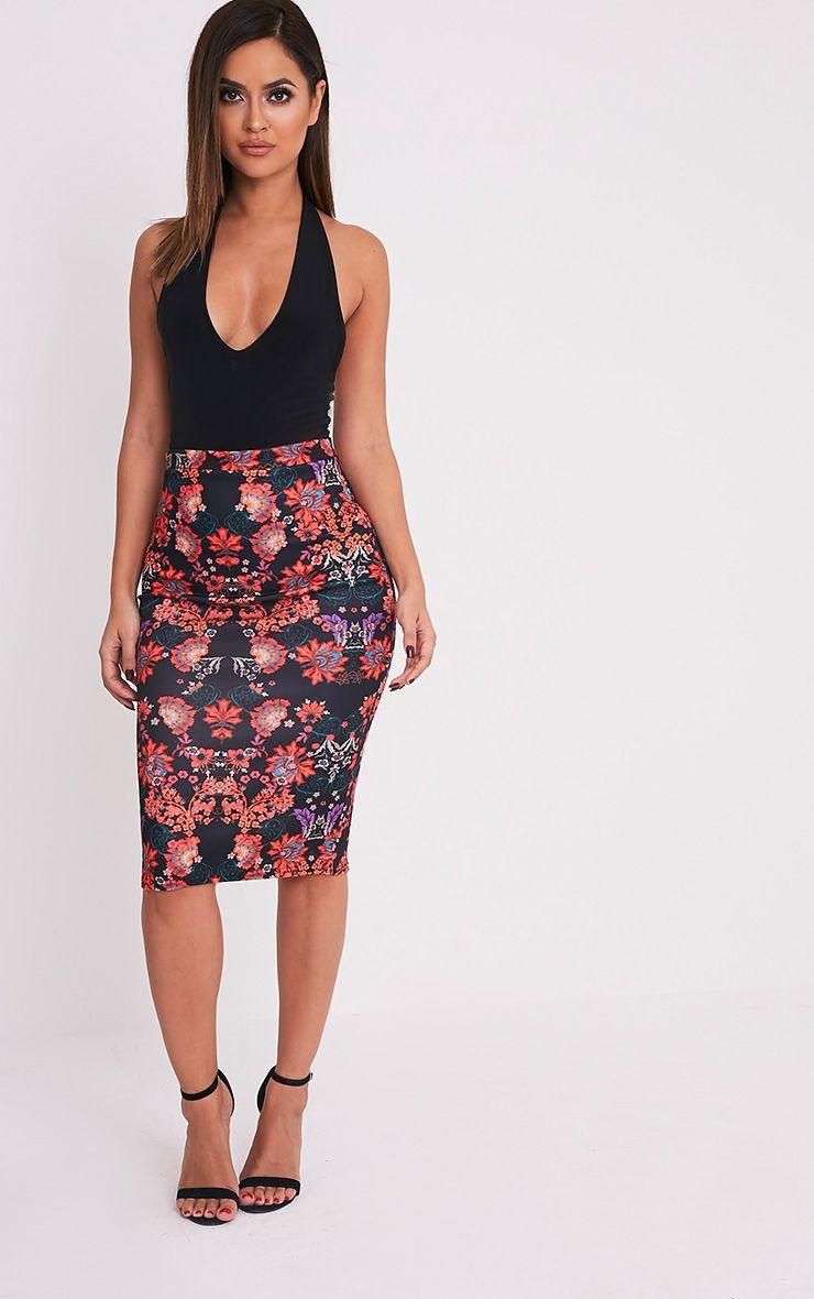 Francesca Black Oriental Print Midi Skirt