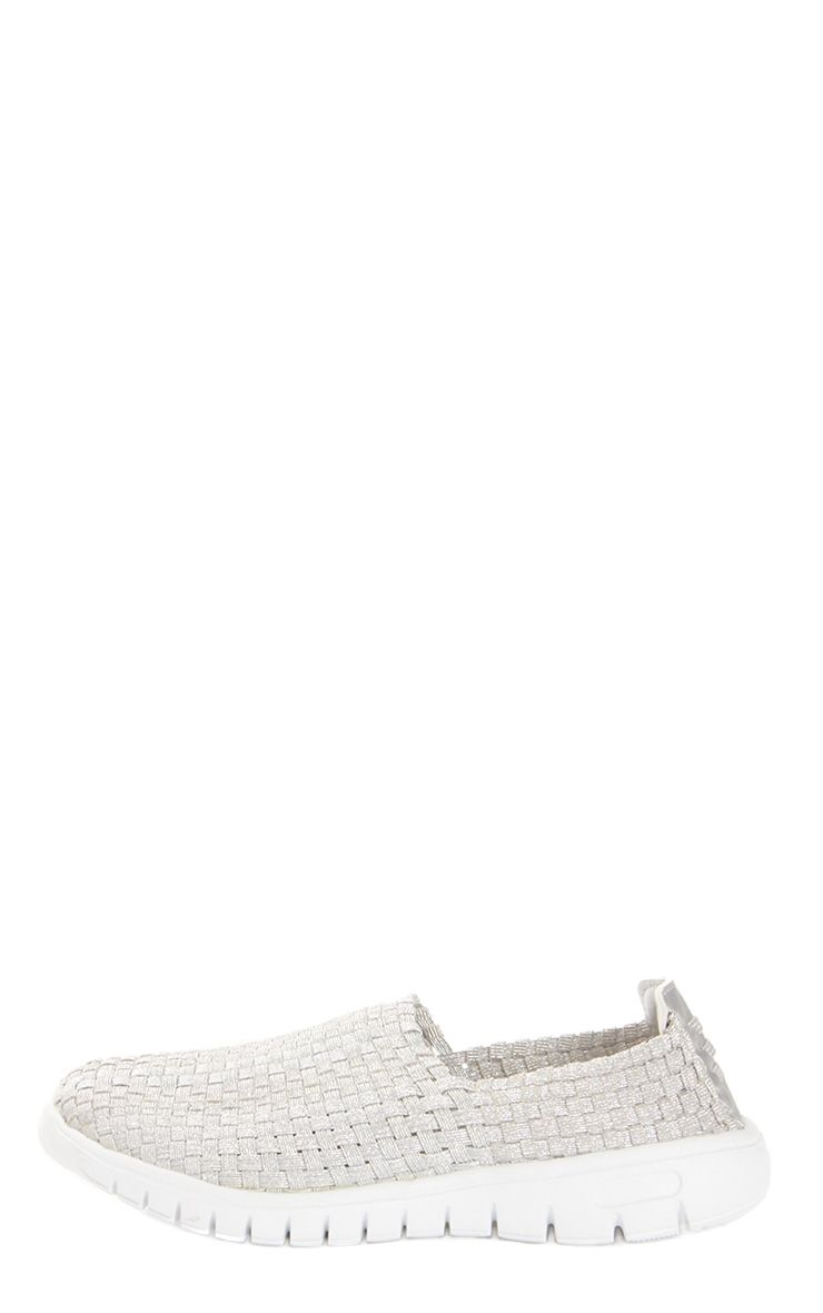 Julie Silver Woven Slip On Trainers 1