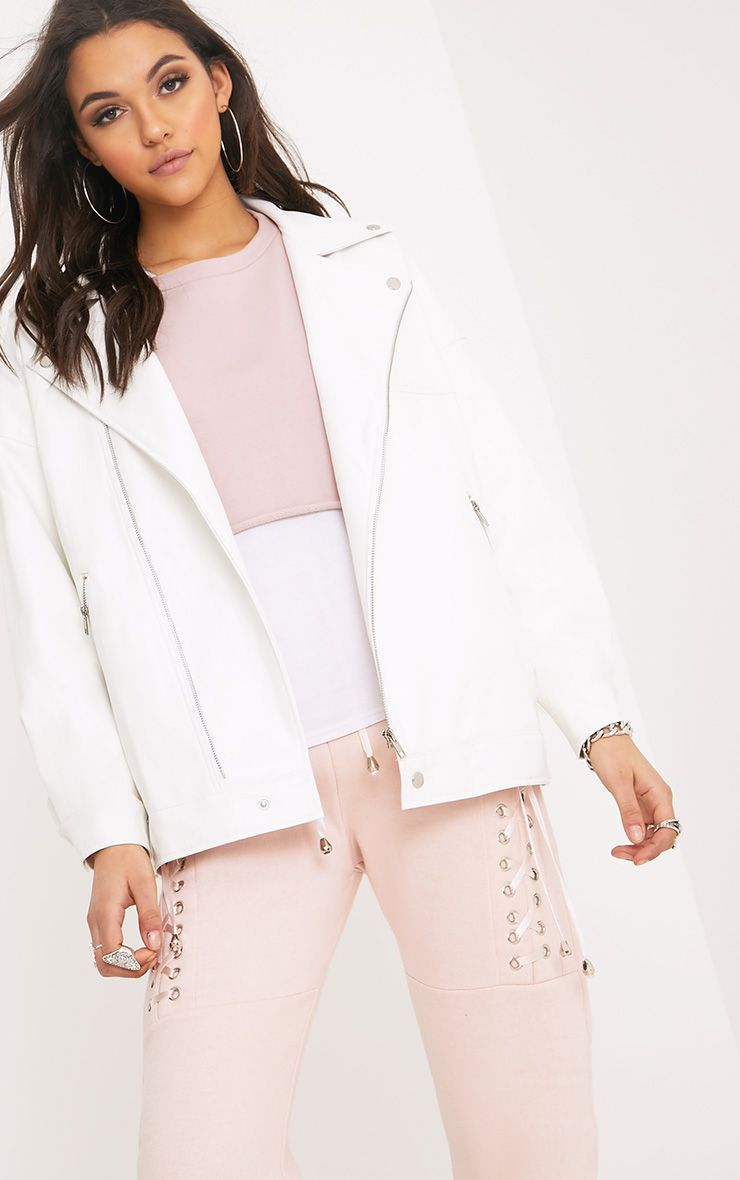 Lakeisha White Oversized PU Biker Jacket