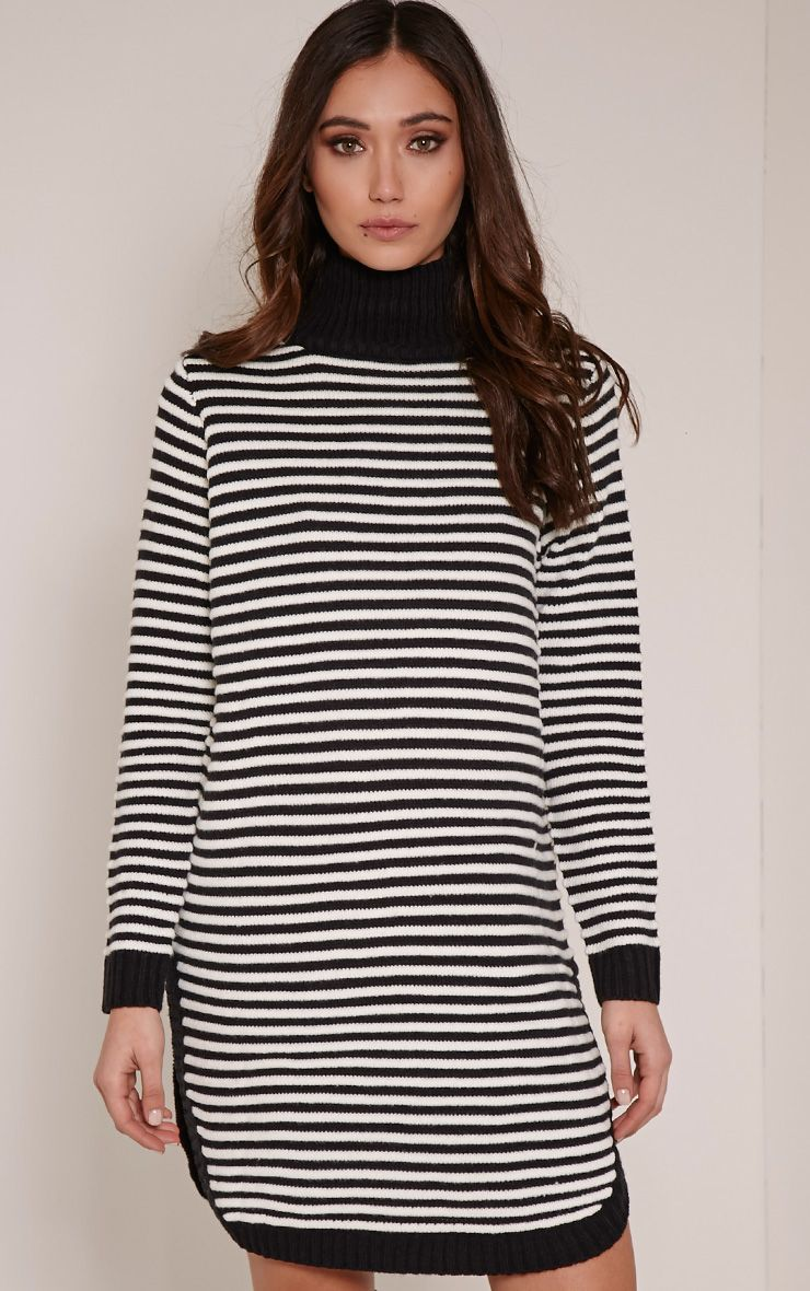 Helena Monochrome Stripe Dolphin Hem Jumper Dress 1