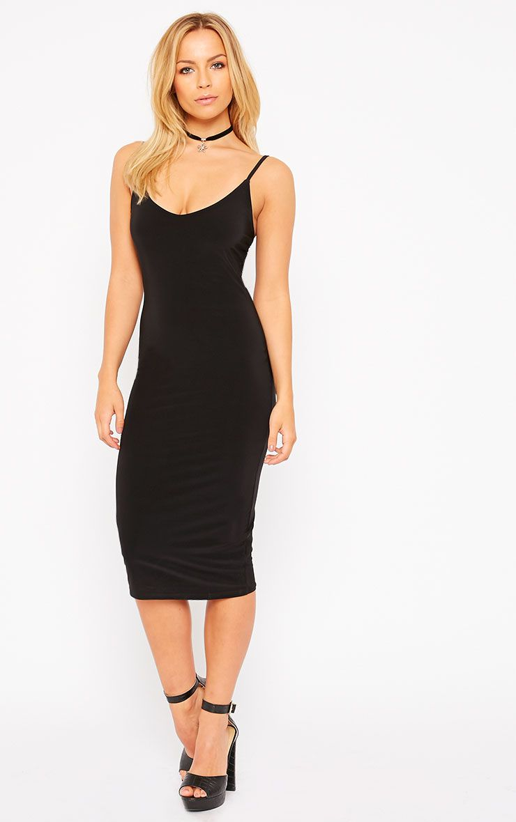 Harpe Black Slinky Midi Dress 1