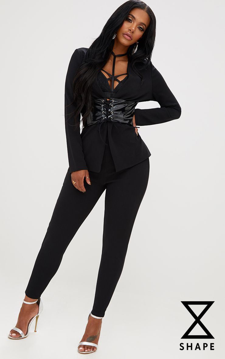 Shape Black Fitted Trousers