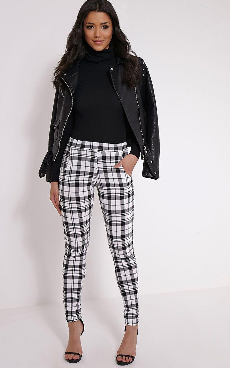 Alora Monochrome Check Crepe Trousers 1