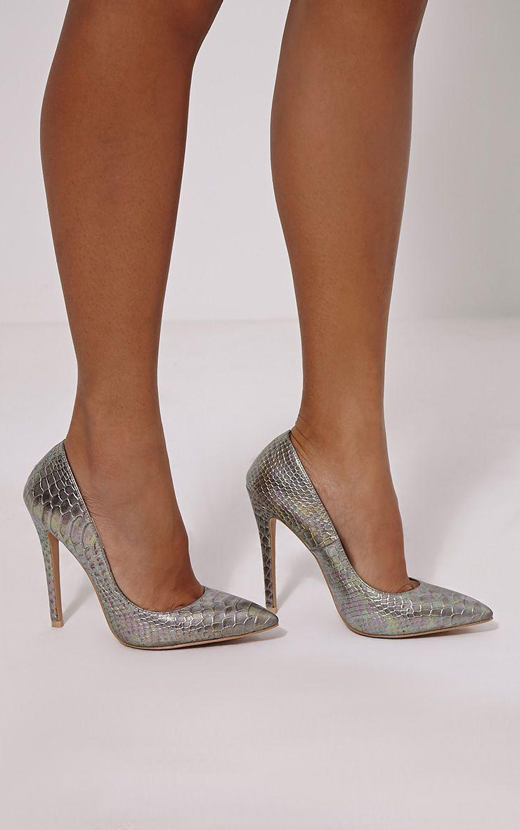 Roxy Silver Metallic Snake Effect Court Heels 1