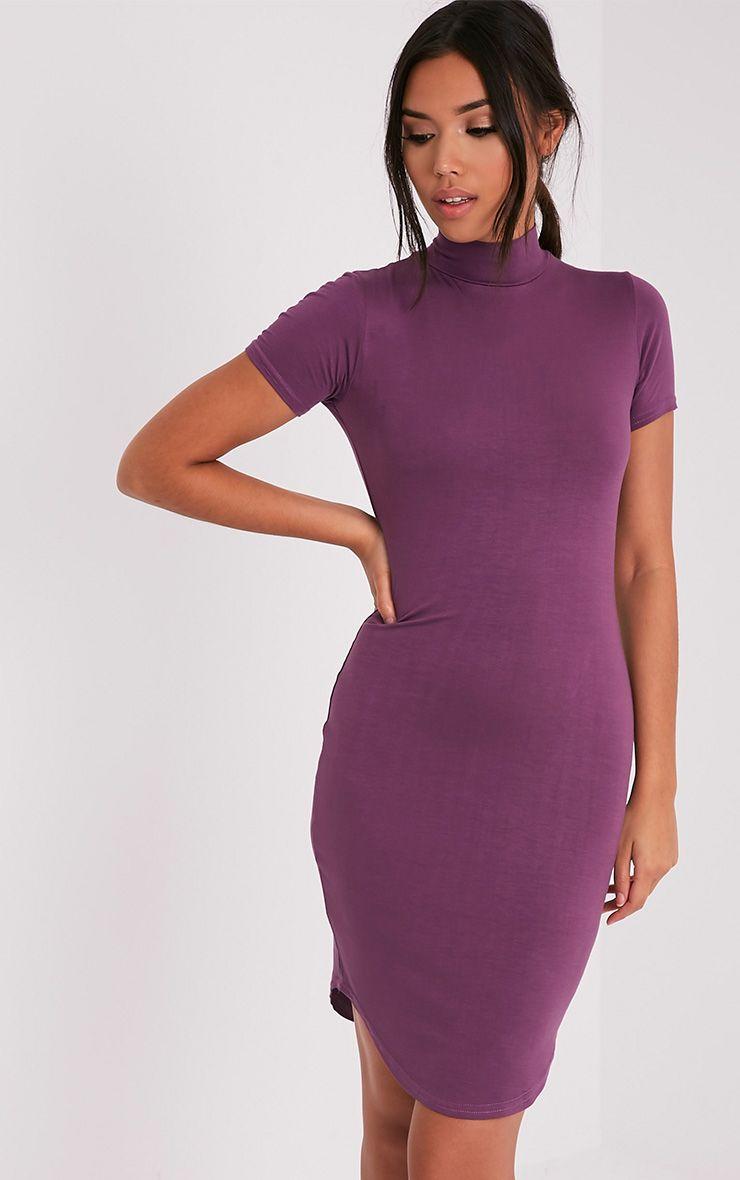 Alby Aubergine Cap Sleeve Curve Hem High Neck Dress 1