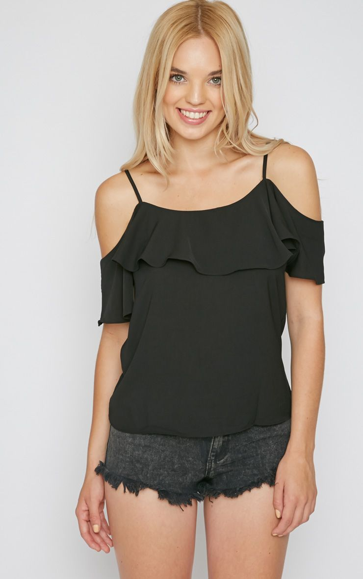Nyla Black Cut Out Frill Cami  1