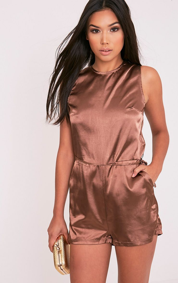 Llyna Brown Satin Tie Waist Playsuit