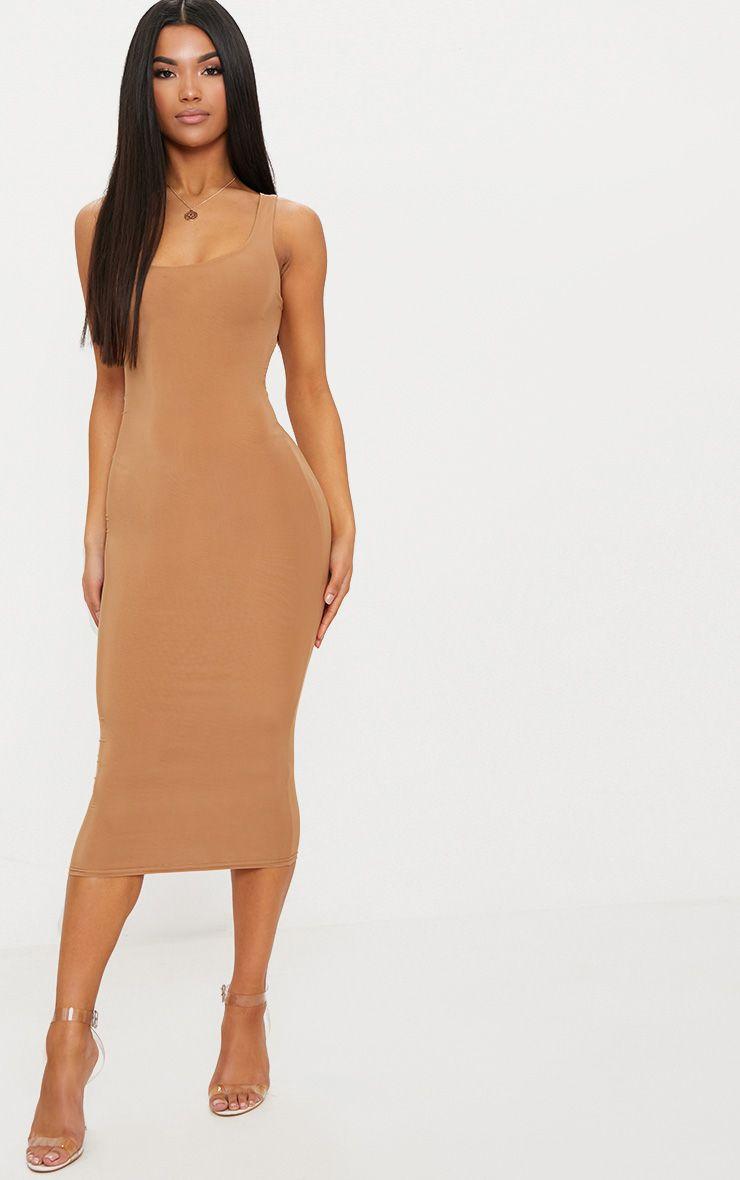 Camel Second Skin Slinky Scoop Neck Midi Dress