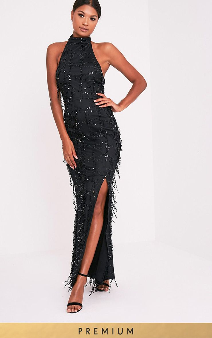Maya Black Premium Sequin Fishtail Maxi Dress