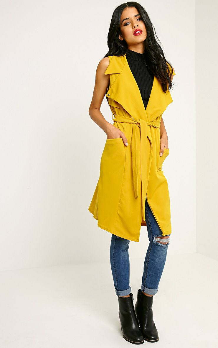 Tegan Mustard Sleeveless Duster Jacket