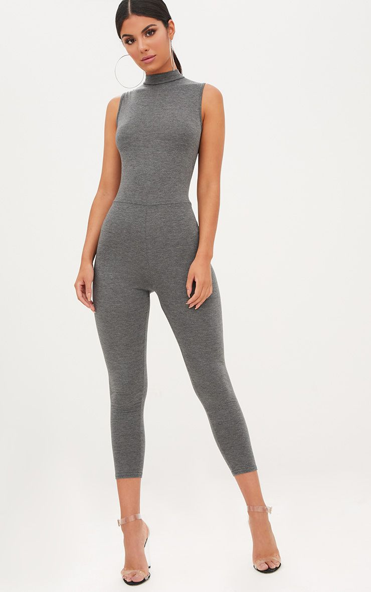 Charcoal Marl Jersey High Neck Jumpsuit