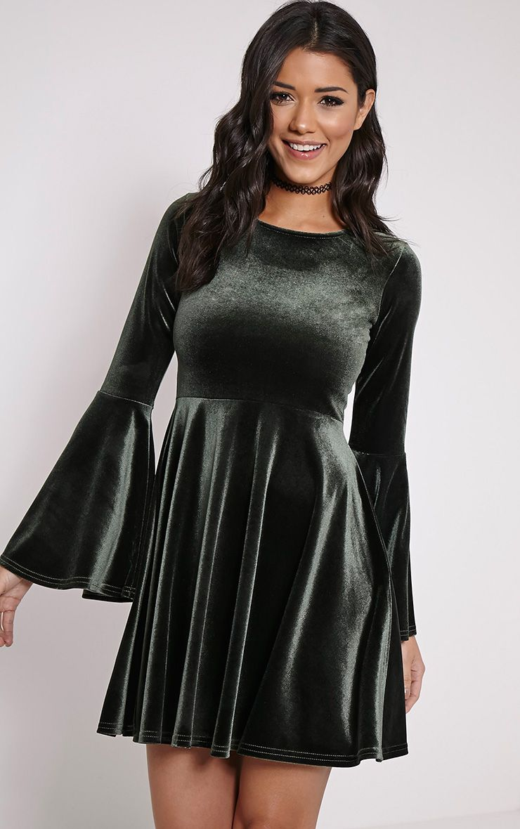 Aisha Khaki Velvet Bell Sleeve Skater Dress 1