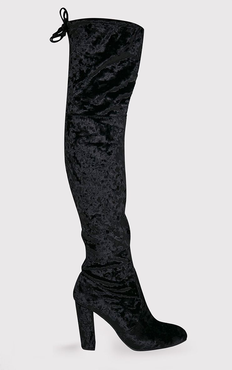 Bess Black Crushed Velvet Heeled Thigh Boots