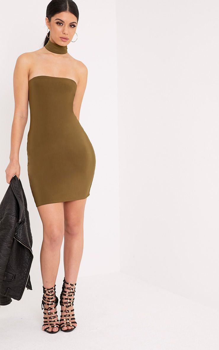 Charlotte Khaki Slinky Choker Bandeau Bodycon Dress
