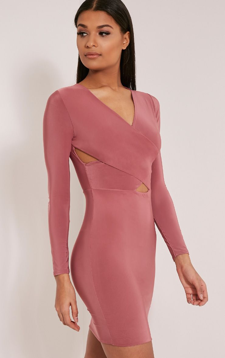 Tamaya Rose Long Sleeve Cross front Bodycon Dress 1