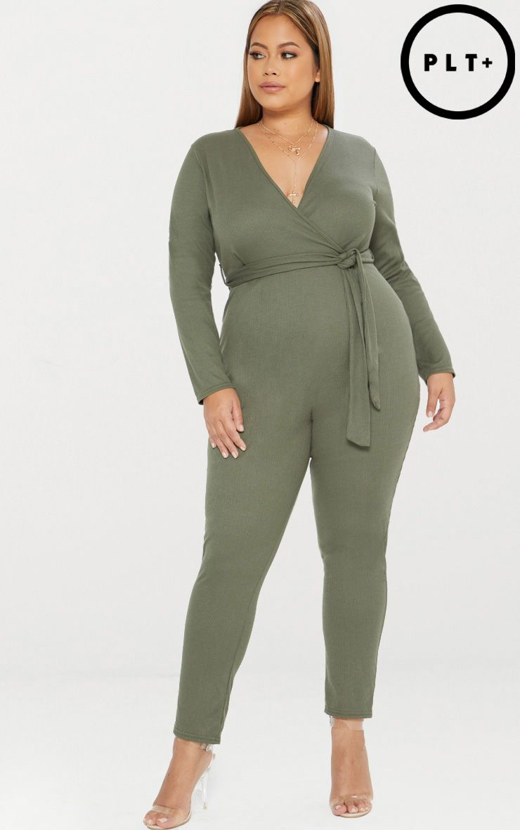 Largest Supplier PRETTYLITTLETHING Plus Ribbed Wrap Front Jumpsuit Best Seller Discount Low Cost Outlet Discounts Buy Cheap 2018 Unisex 55r3wn