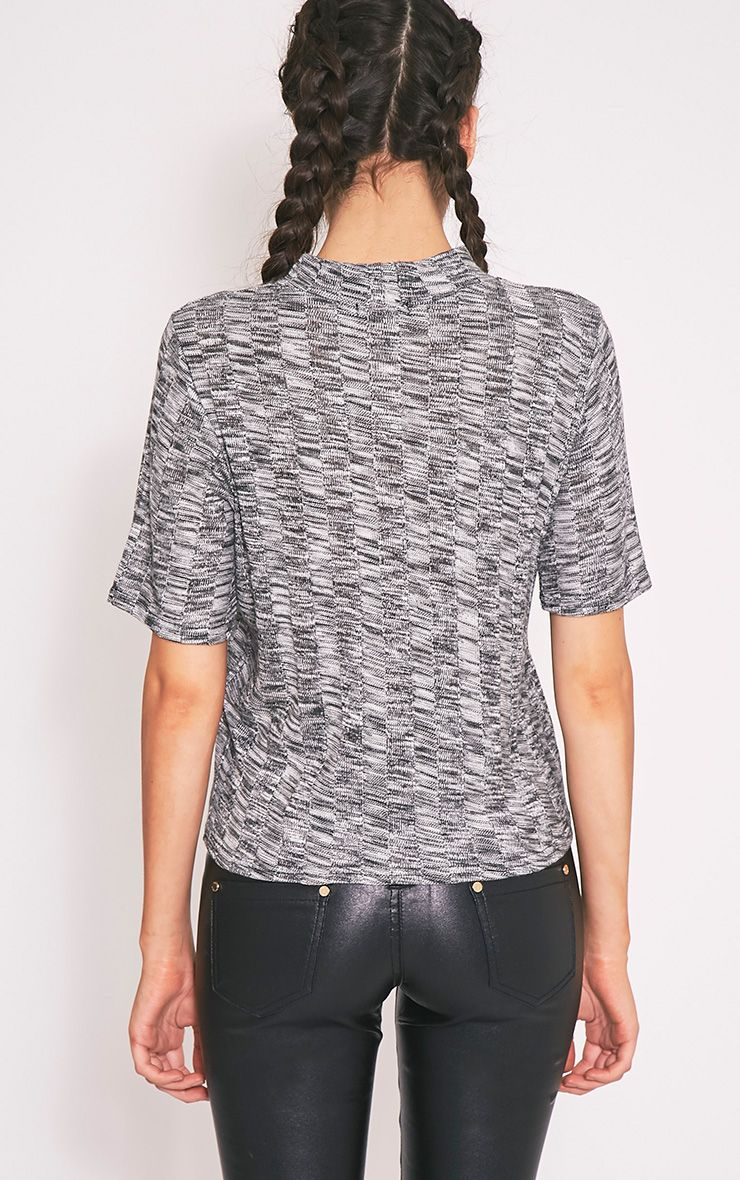 Laylae Grey Fine Knit Short Sleeve Top 2