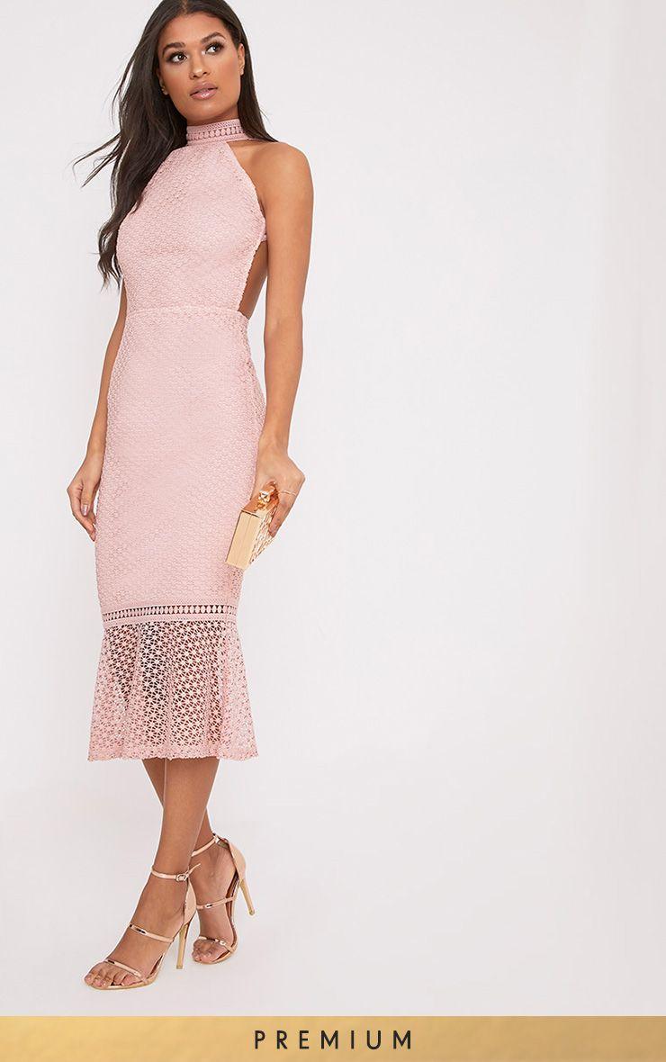 Kymmie Dusty Pink Lace High Neck Midi Dress
