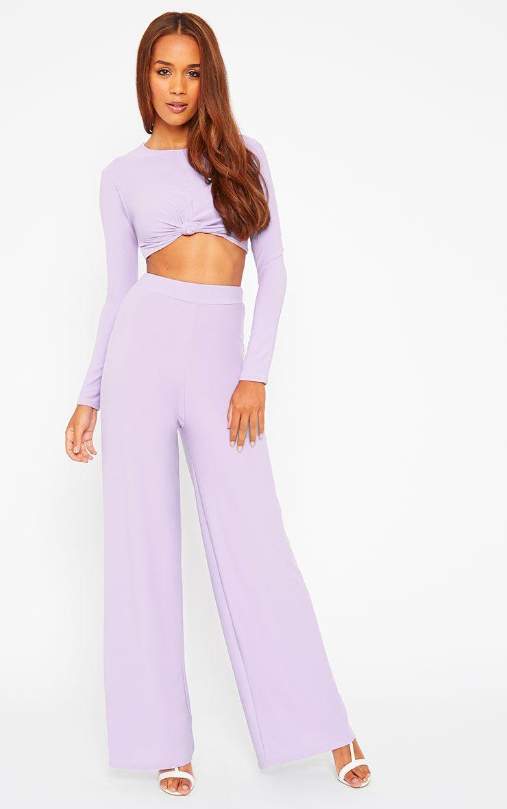Zafia Lilac Crepe Palazzo Trousers 1