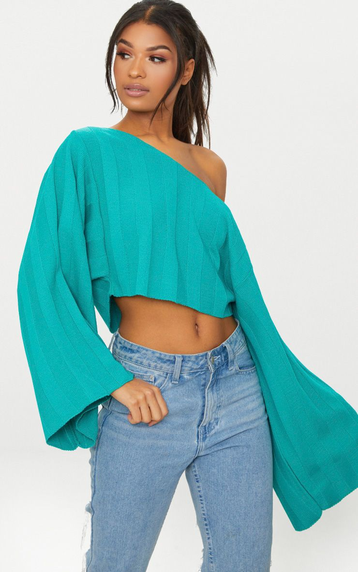 Jade Green Wide Sleeve Stripe Jumper