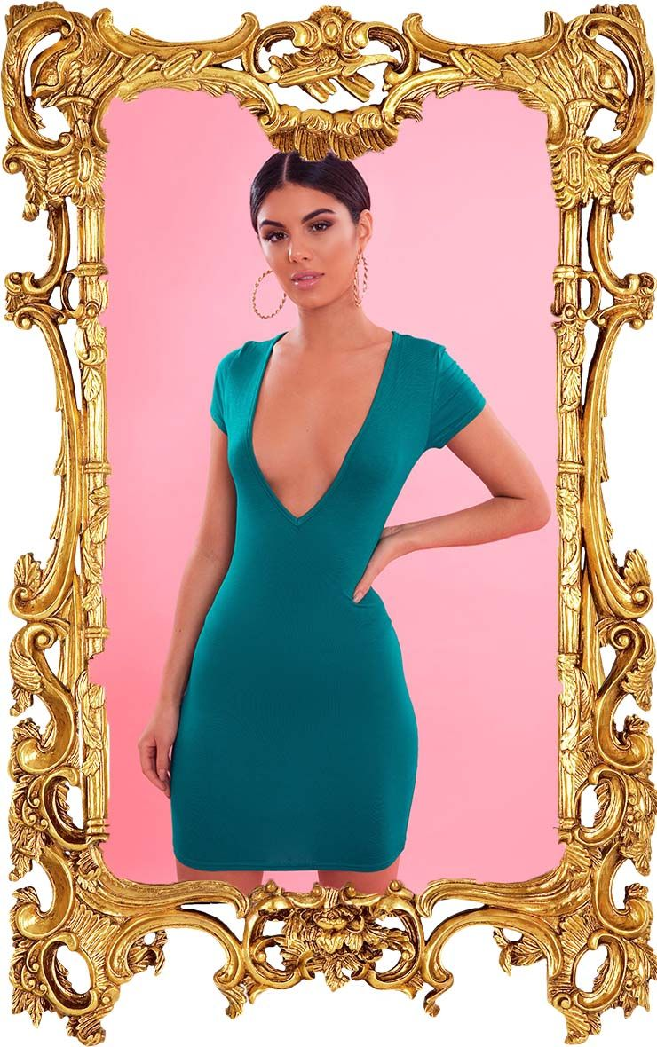 Bright Green Plunge Front Cap Sleeve Bodycon Dress