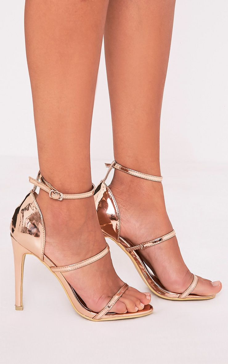 Amelia Rose Gold Strappy Heeled Sandal- Shoes - PrettyLittleThing ...
