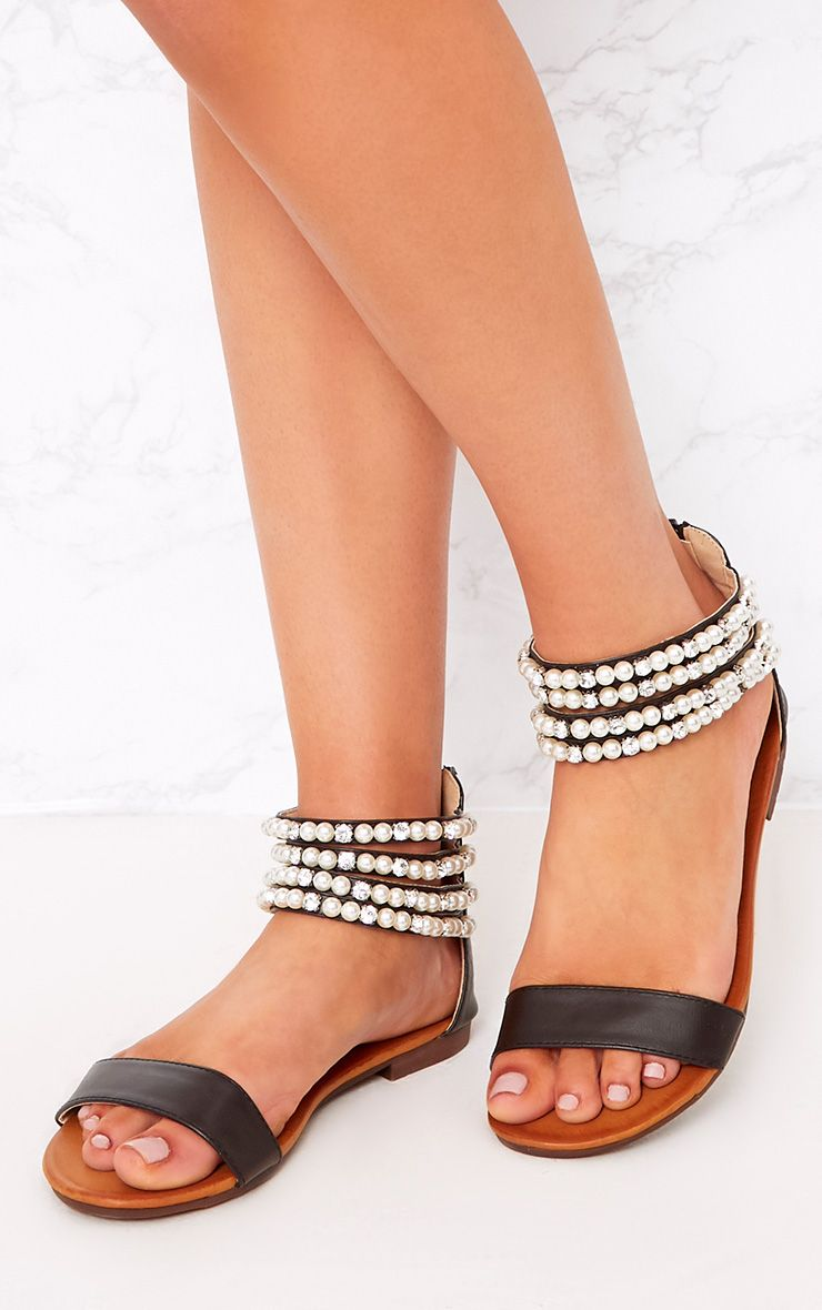 Paloma Black Pearl Strap Sandals