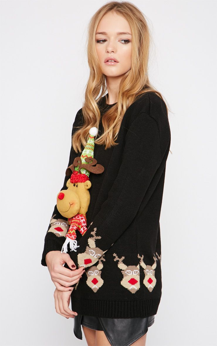Jelissa Black 3D Rudolph Head Christmas Jumper 1