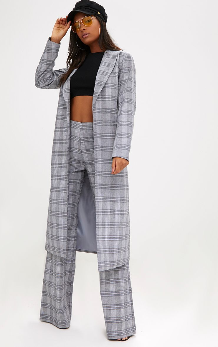 Grey Check Tailored Duster Coat