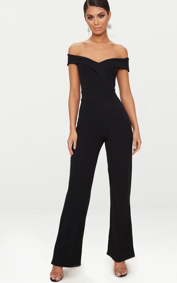 Black Crepe Bardot Folded Detail Jumpsuit