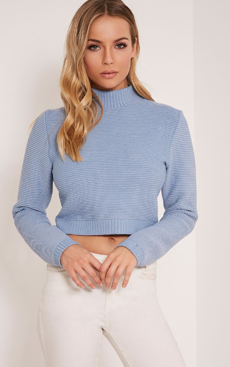 Dusty Blue Ribbed Crop Knitted Jumper  1