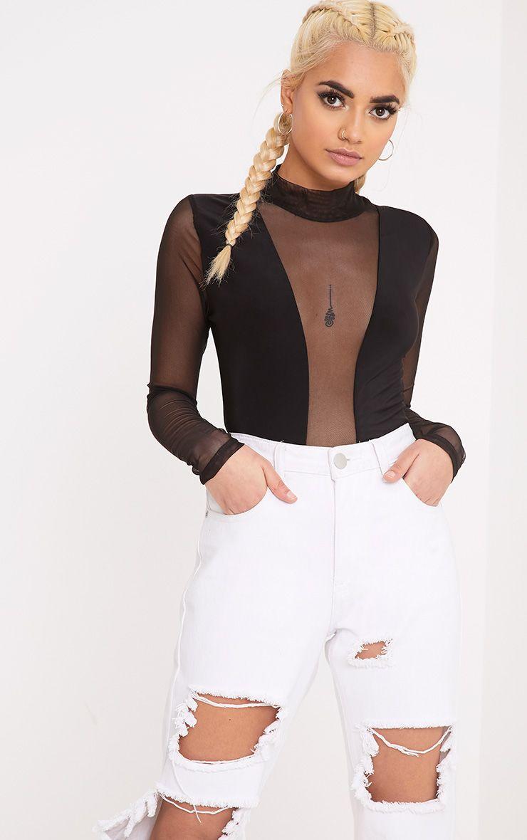 Aleda Black Mesh Slinky Longsleeve Thong Bodysuit