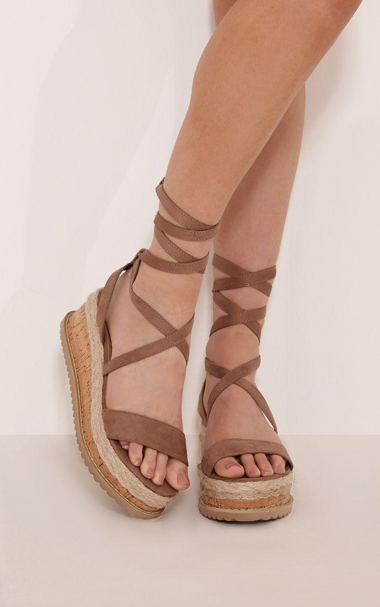 Niella Mocha Espadrille Flatform Sandal
