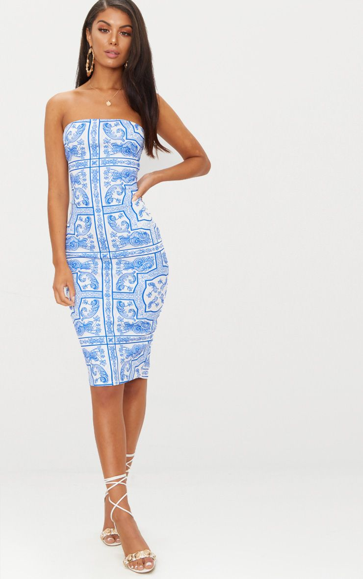 Discount Footlocker Finishline Dusty Blue Baroque Print Bandeau A Line Dress Pretty Little Thing Buy Cheap With Paypal Online Store Discount Cheap Cheap Sale Low Cost 5pHX6QQBd