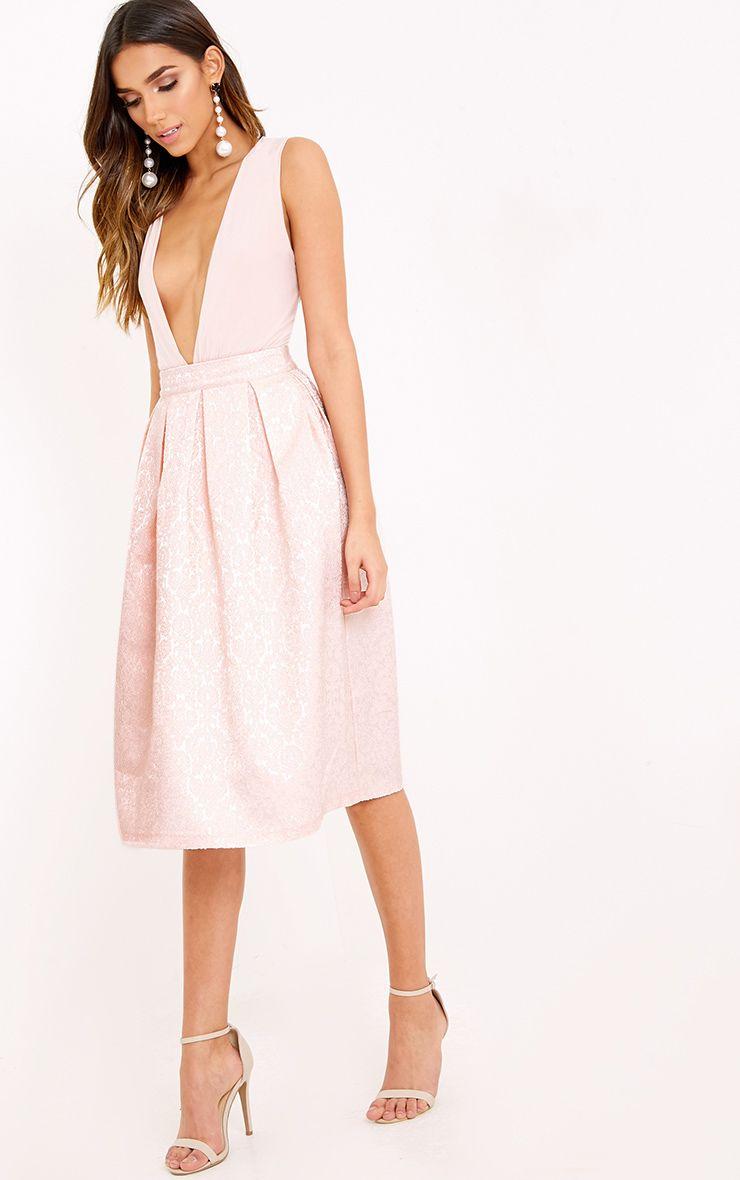 Gisella Baby Pink Jacquard Full Midi Skirt