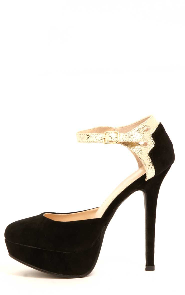 Caitlin Black Suedette Heeled Shoes 1