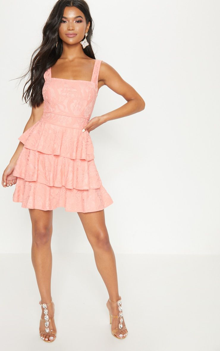 Peach Lace Square Neck Contrast Trim Tiered Skater Dress