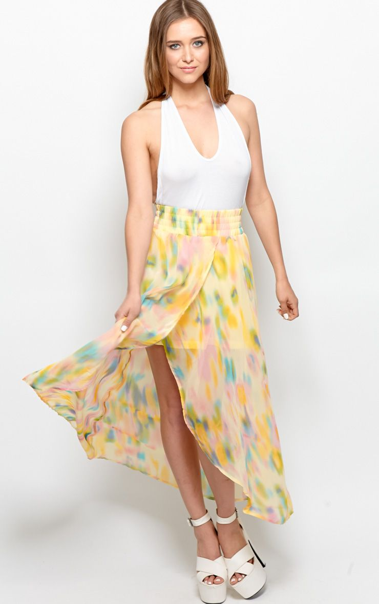 Jada Yellow Multi Maxi Skirt 1