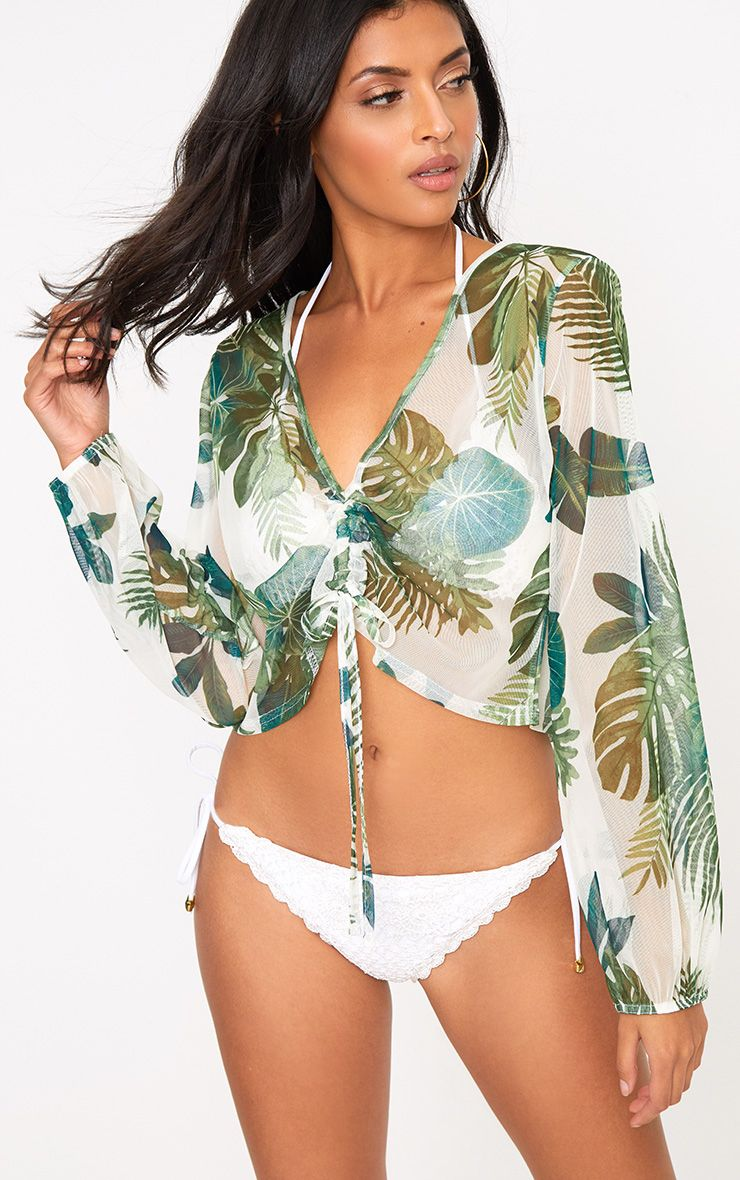Cream Palm Printed Mesh Ruched Beachwear Crop Top