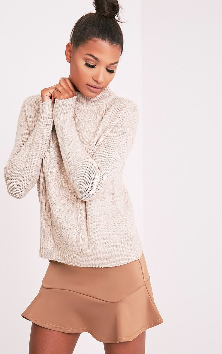 Jodeanne Taupe Cable Knit Detail Turtle Neck Jumper 4