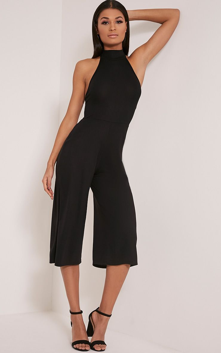 Marcie Black High Neck Low Back Culotte Jumpsuit