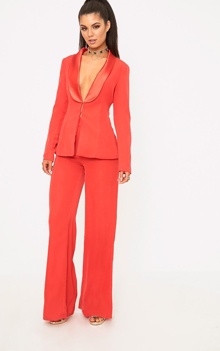 Red Wide Leg Suit Trousers