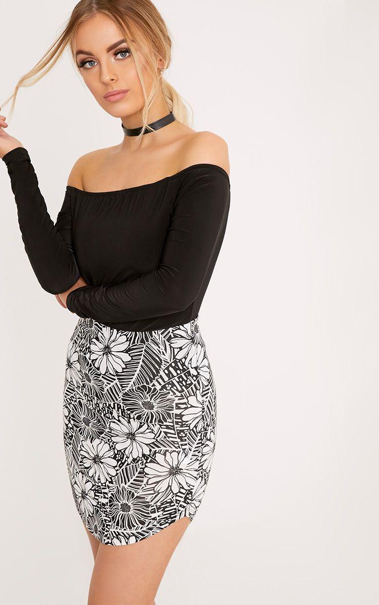 Shayla Black Floral Print Curve Hem Mini Skirt