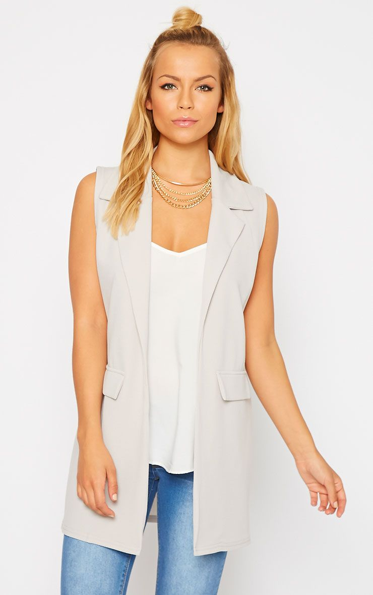 Riti Grey Sleeveless Blazer 1