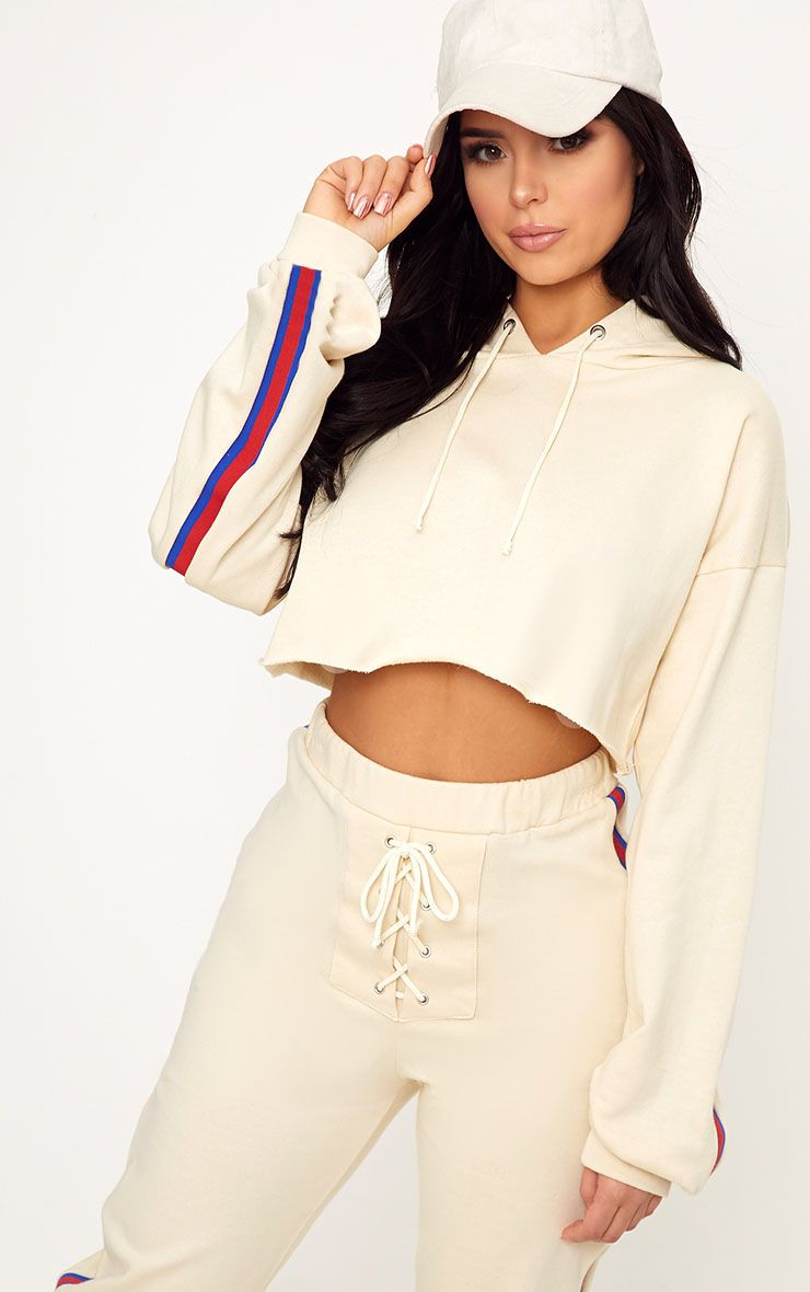 Shape Caila Cream Cropped Stripe Detail Hoodie